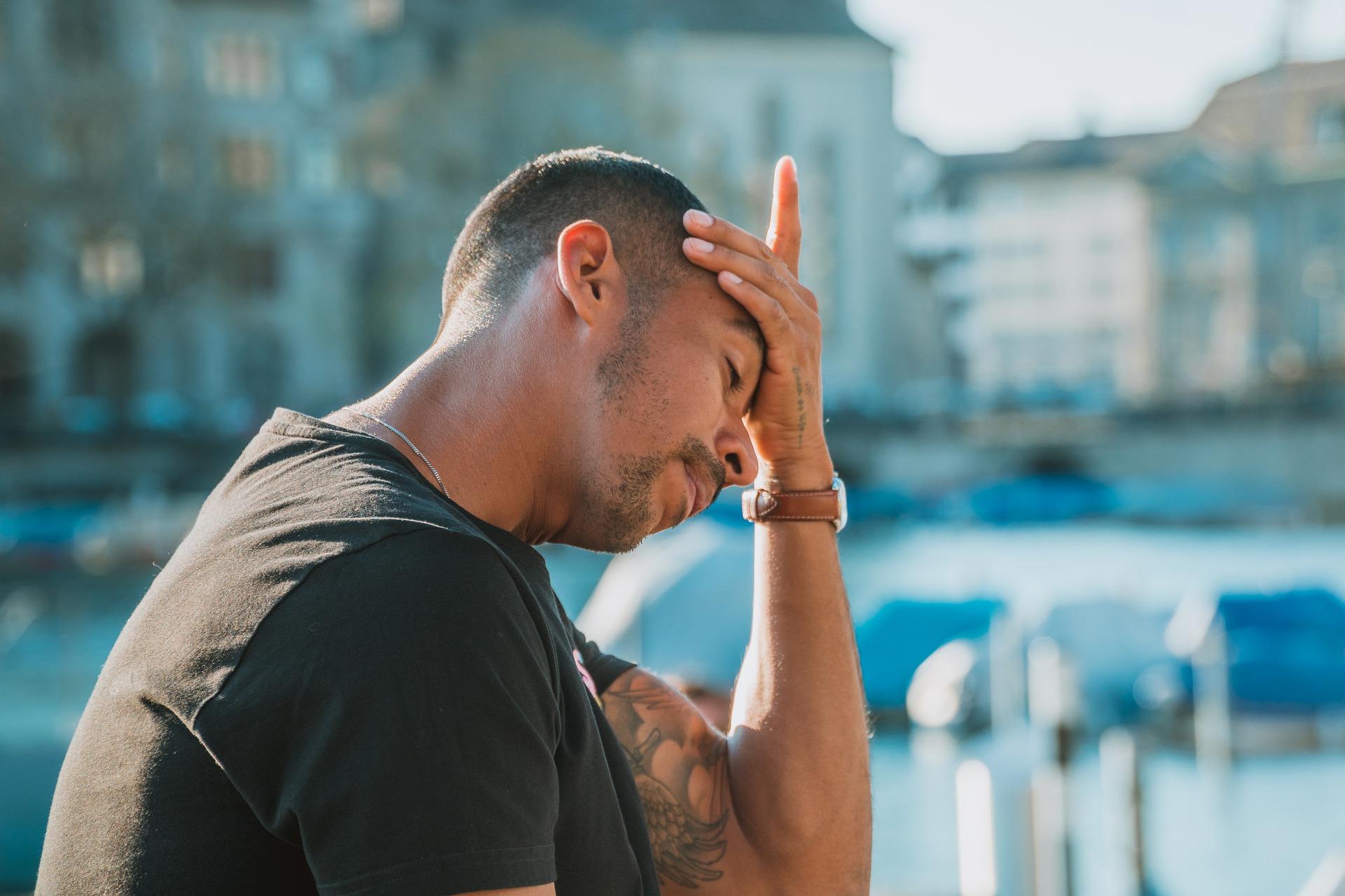 A man with headache